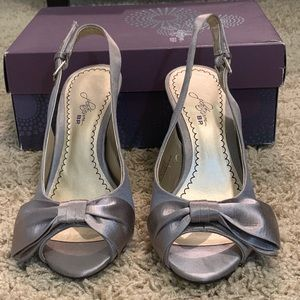 Nordstrom Platinum BP.| Satin Grey Heels with Bow